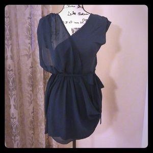BEBE navy blue overlay dress